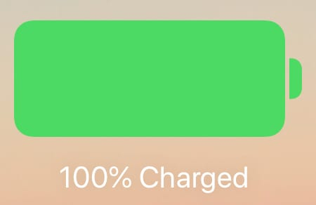 100% charged battery icon from iPad lock screen.