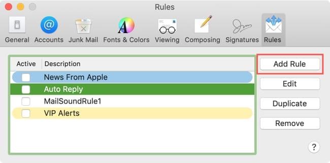 Add a Rule in Mail on Mac