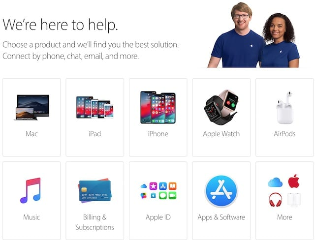 Apple's Get Support webpage.