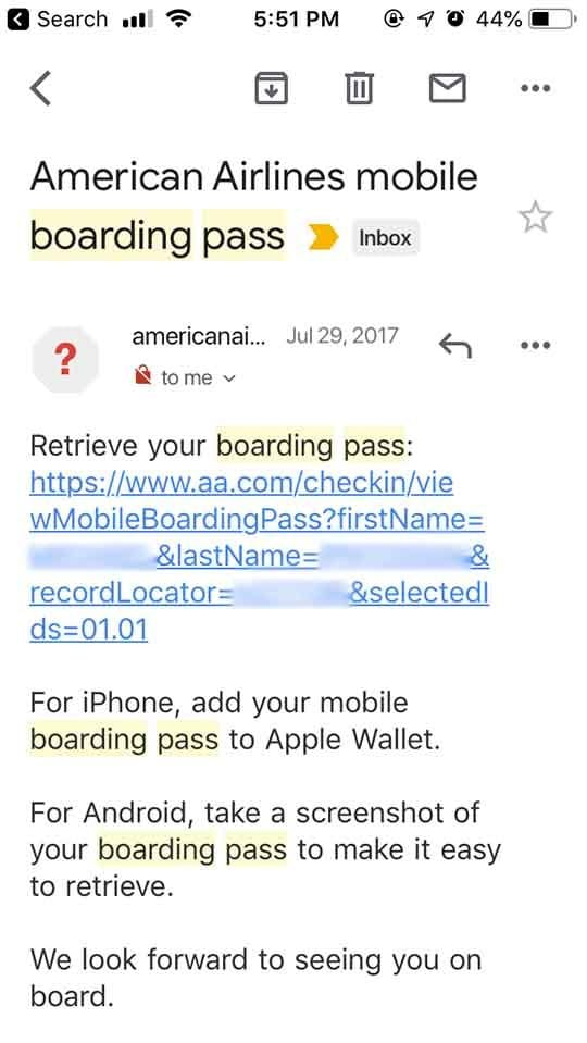Apple Wallet Boarding Pass - Email
