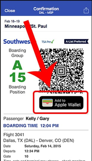 Apple Wallet Boarding Pass
