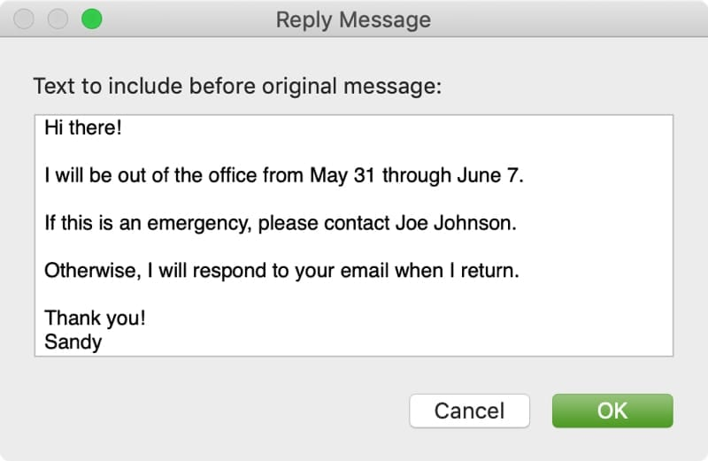 Create An Out Of Office Message In Apple Mail Appletoolbox