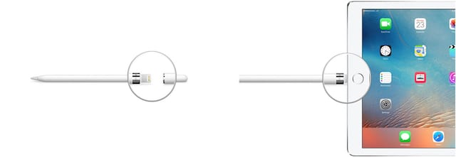 Apple Pencil plugging into iPad.
