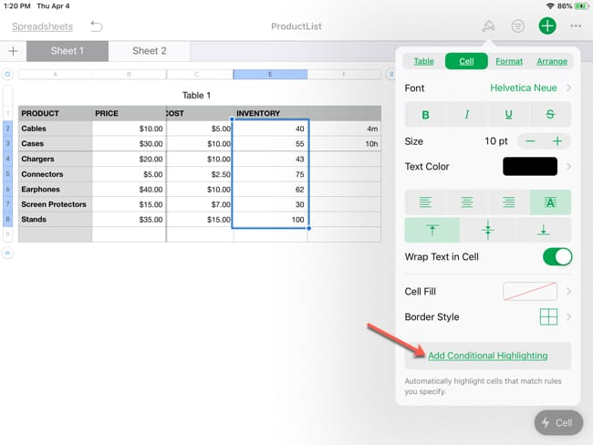 Conditional Formatting in Numbers on iPad, A Complete Guide