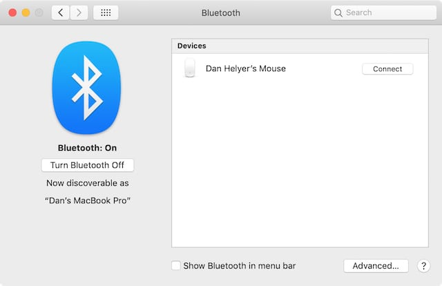 Wireless mouse in Bluetooth preferences.