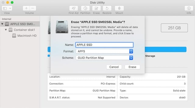 Disk Utility options to erase hard disk