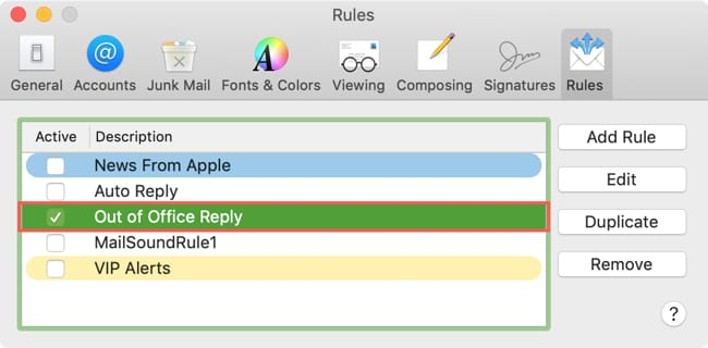 Enable Out Of Office Reply on Mac
