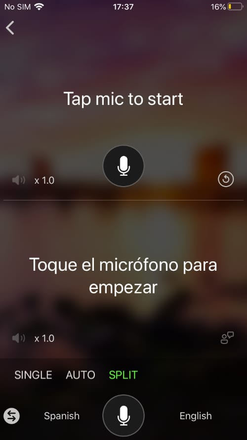 Microphone translation in Microsoft Translator
