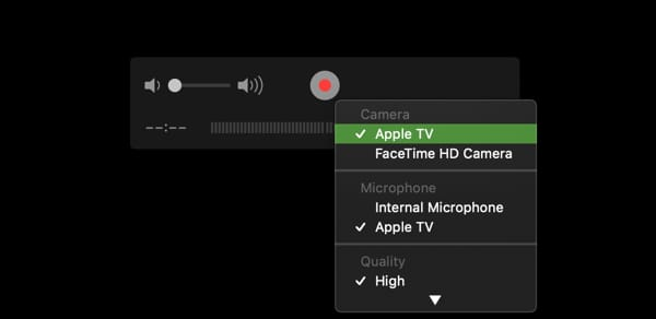 QuickTime Player select Apple TV