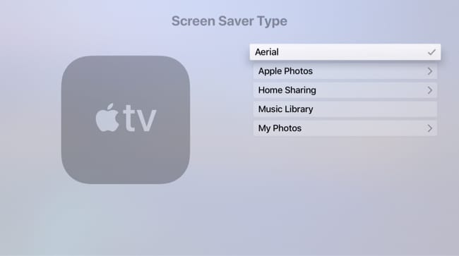 Select aerial screen saver for Apple TV
