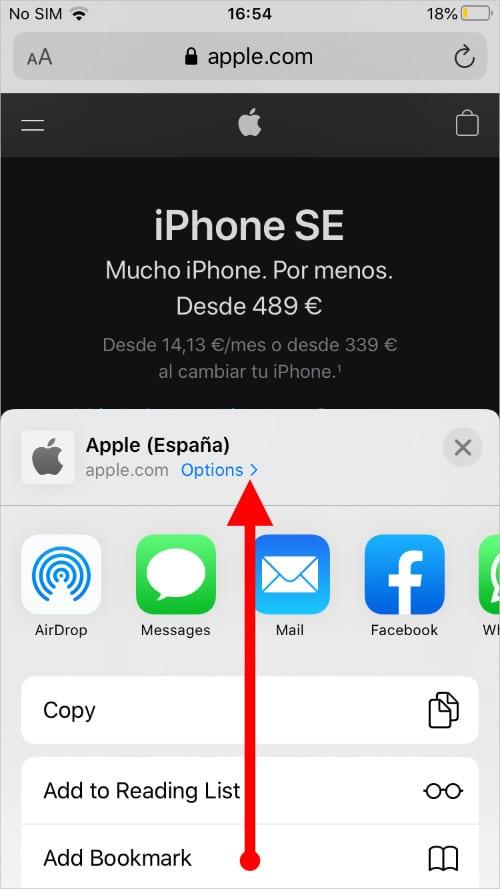 Share menu in Safari on iOS 13