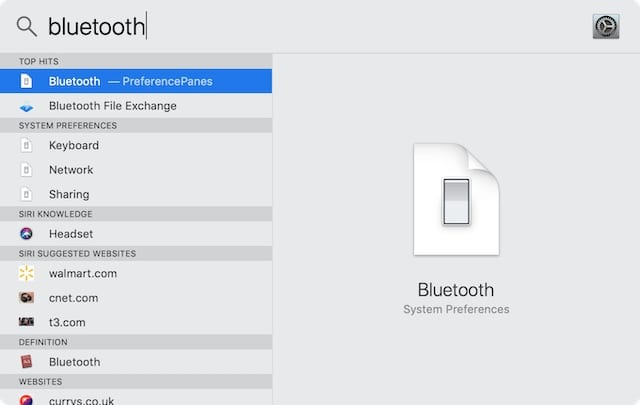 Search for 'bluetooth' in Spotlight