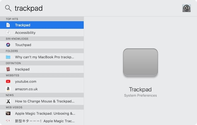 Spotlight search for Trackpad System Preferences