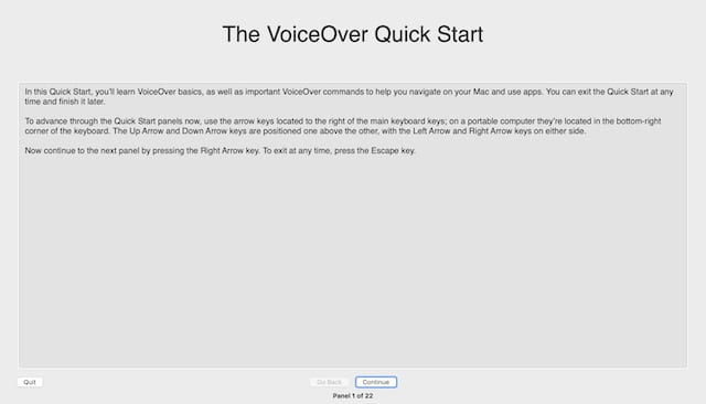 VoiceOver Quick Start window.