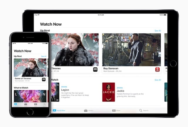 iPhone X, XR, or XS and Apple TV using Watch Now for 4K videos.