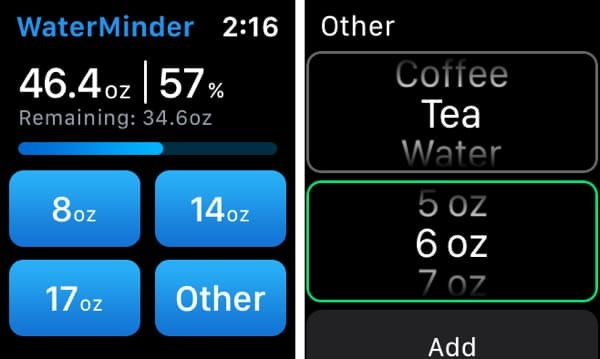 WaterMinder on Apple Watch Add Beverage