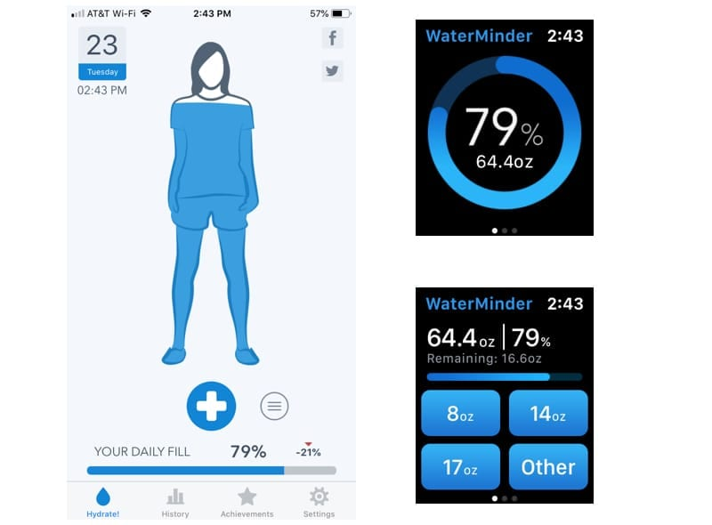WaterMinder on iPhone and Apple Watch