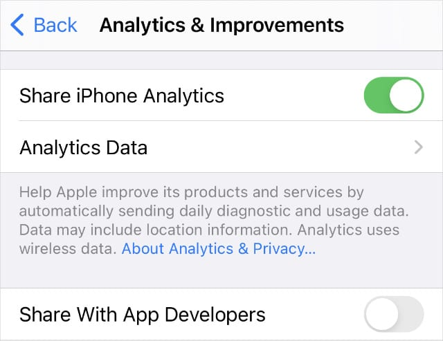 iPhone Analytics & Improvements settings