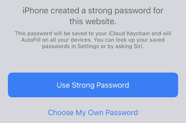 iPhone created a strong password in Safari