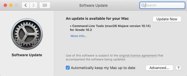 Click Update Now in the Software Updates window