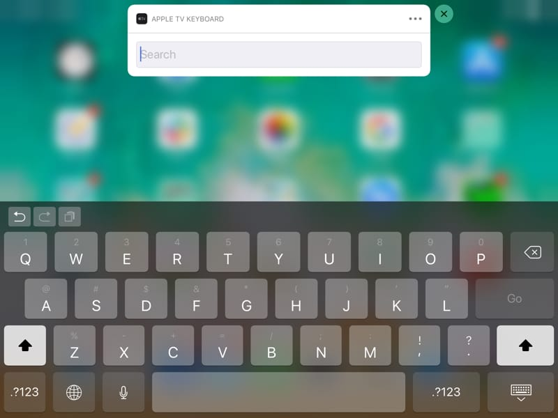 Apple TV Keyboard on iPad