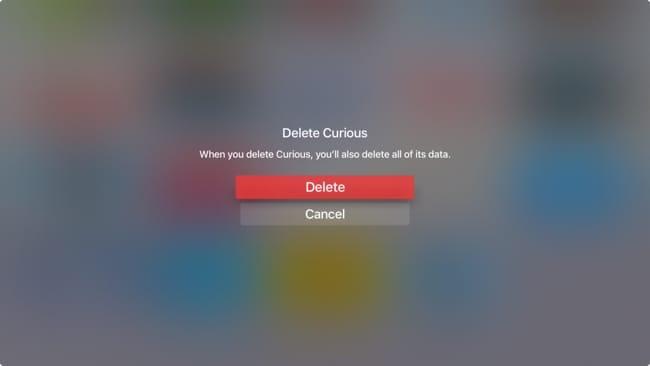 Confirm Delete App AppleTV