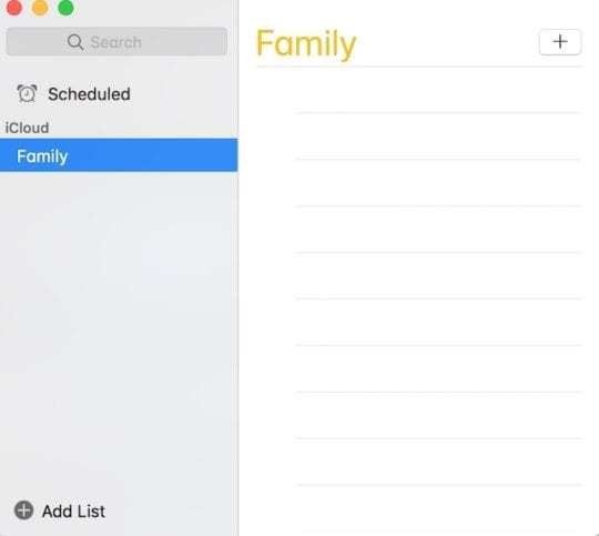 Empty list in reminders on Mac.