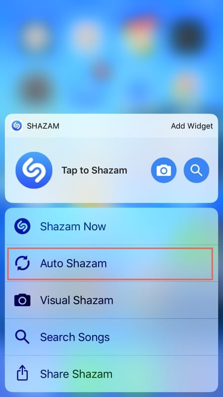 Enable Auto Shazam with 3D Touch