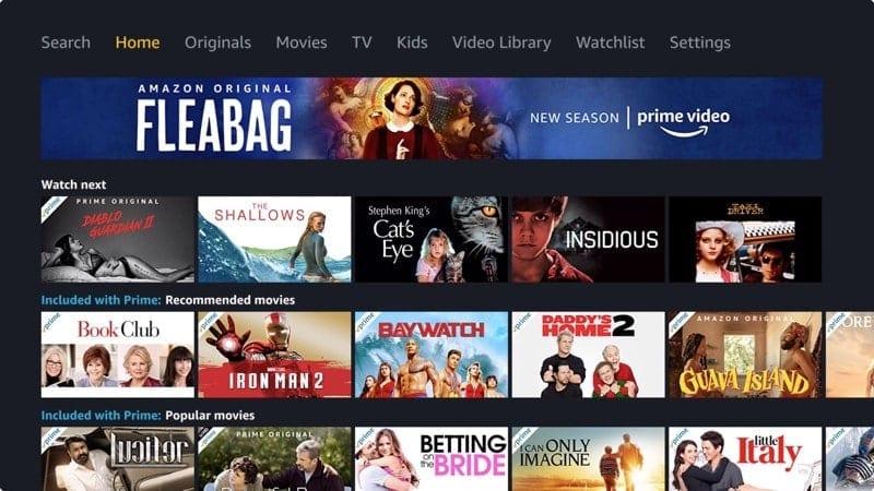 Amazon Prime Video Home screen
