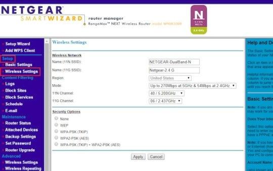 Netgear Router Control Panel