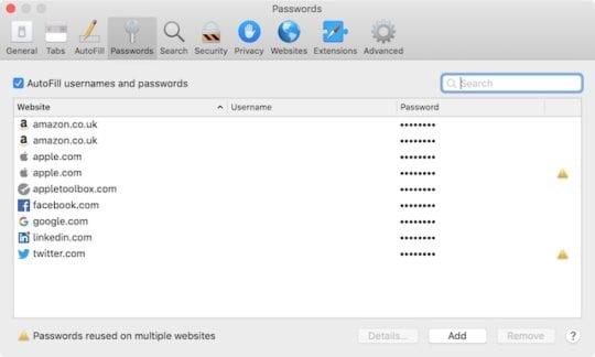 Passwords in Safari on Mac