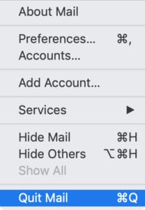 Quit Mail option from menu bar