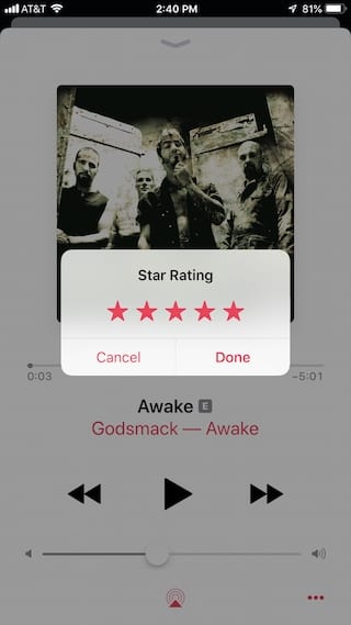Rate song in Apple music on iPhone.
