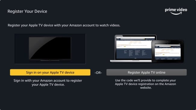 Register Apple TV with Amazon Prime