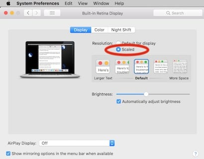 Scaled in display in displays in system preferences.
