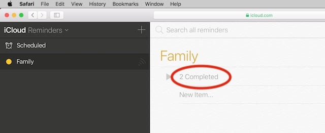 Select completed under lists in reminders on iCloud