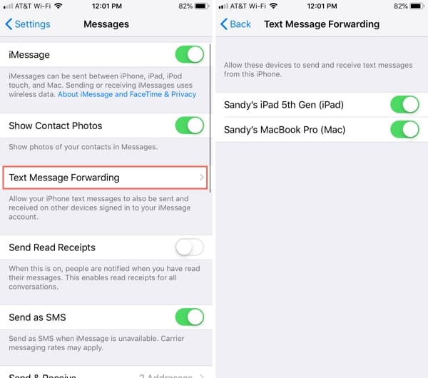 Set Up Text Forwarding