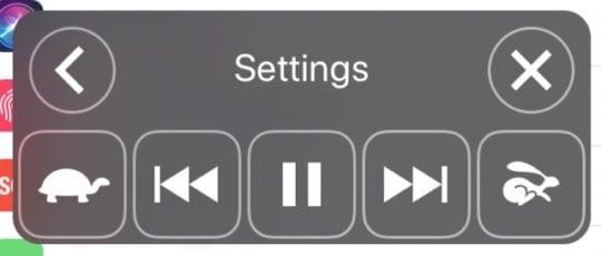 Speak Screen controls