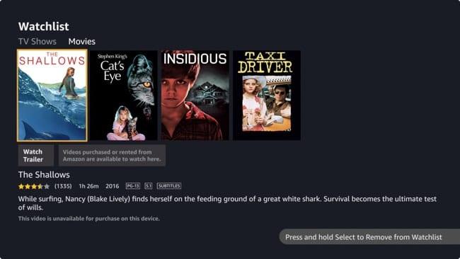 Amazon Prime Video Watchlist