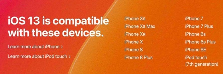 iOS 13 Compatible iPhone models