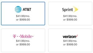 Carrier selection of AT&T, Sprint, T-Mobile, and Verizon.