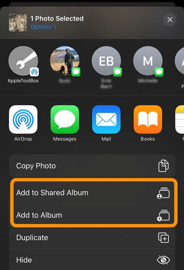 Share sheet Photos app Add Photo to Album or Add Photo to Shared Album
