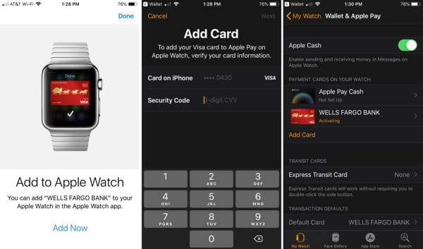 Add a card to Apple Watch immediately