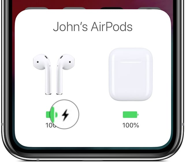 Animation of AirPods charging on iPhone X.