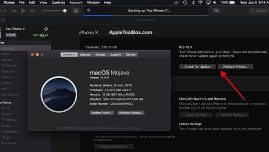 Backup and restore iOS 13 with older macOS