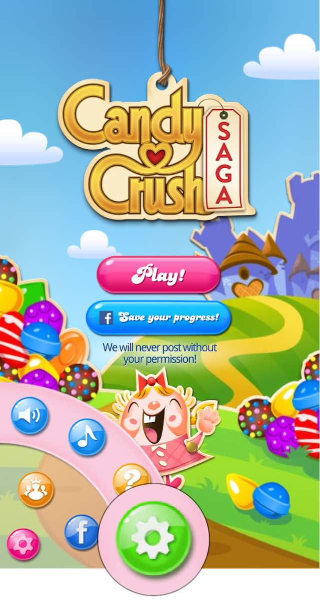 Candy Crush Settings button