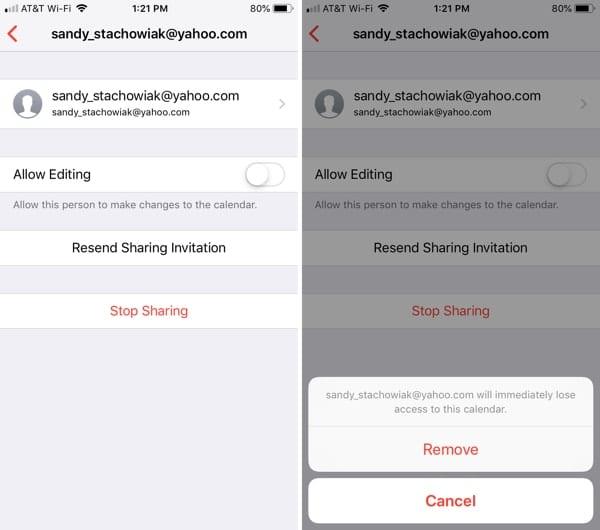 Change calendar sharing options on iPhone