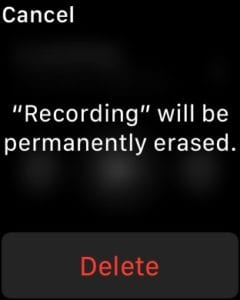 Delete Voice Memo from Apple Watch