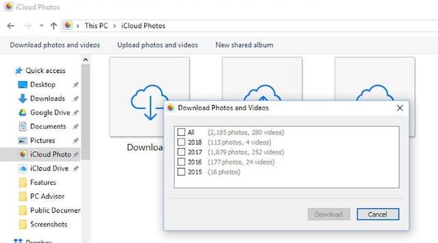 Download iCloud Photos in File Explorer
