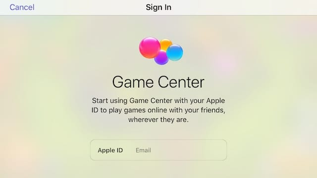 Game Center sign in page